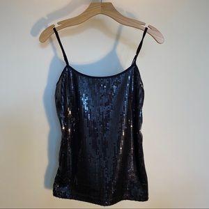 Ann Taylor Loft Factory tank top sequins black SM